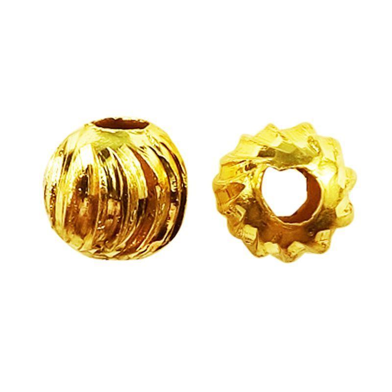 18K Gold Overlay Dice Shape Attpal Bead BG-184-4MM