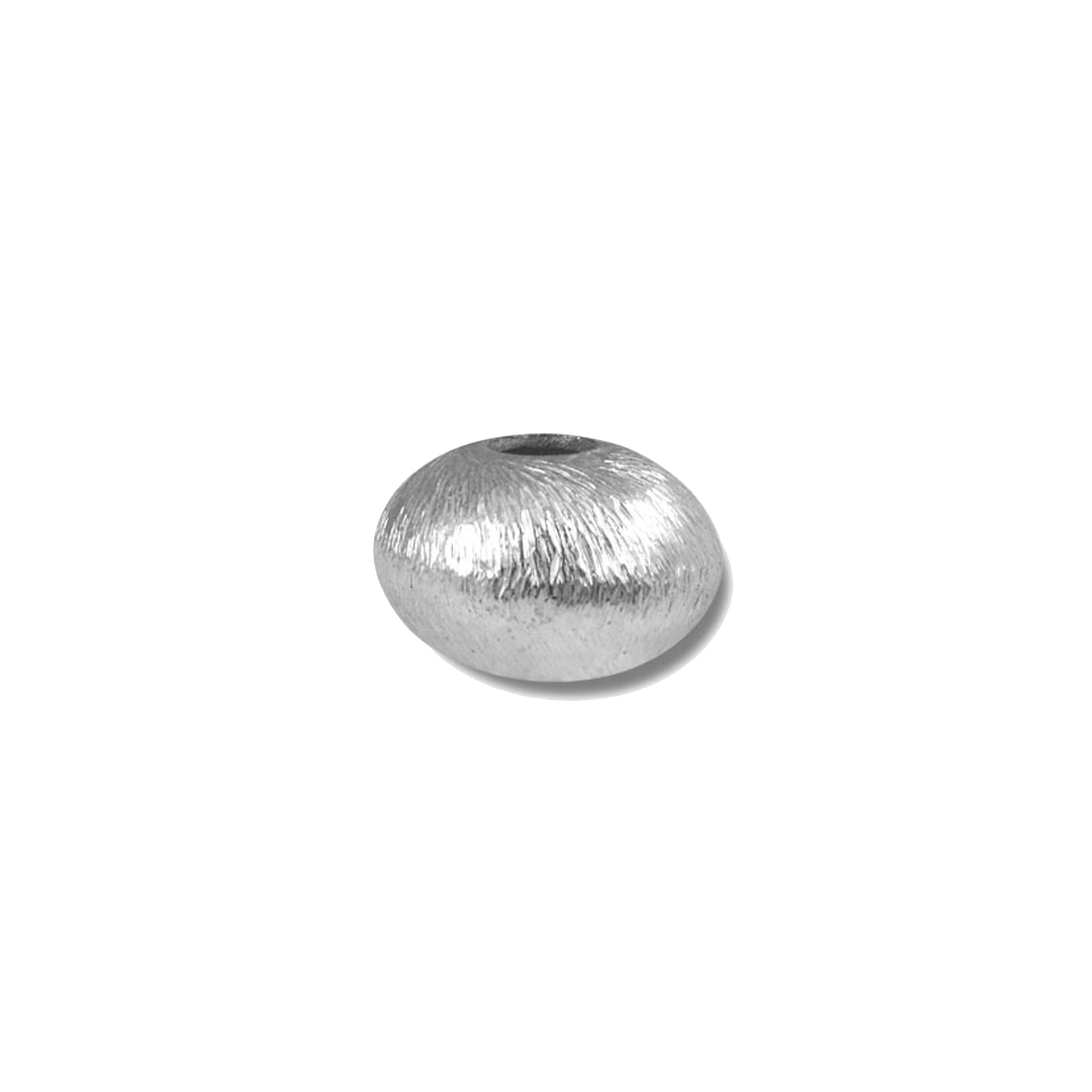 Silver Overlay Wheel Shape Brushed Bead BSF-179-12MM