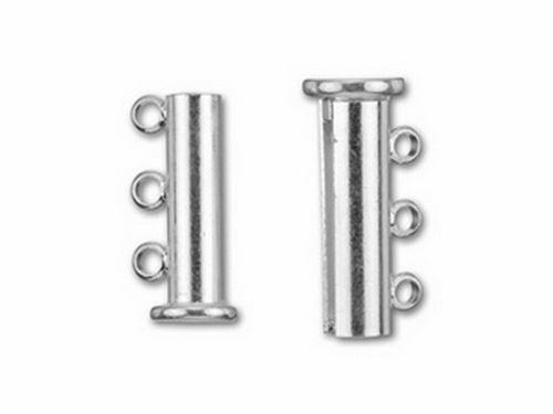 Silver Overlay Multi Strand Clasp With 3 Hole CSF-445-15X21MM