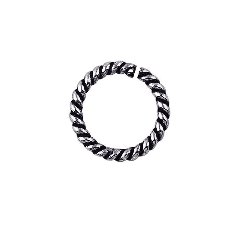 Silver Overlay Open Jump Ring Twisted Oxidised JOSF-102-6MM