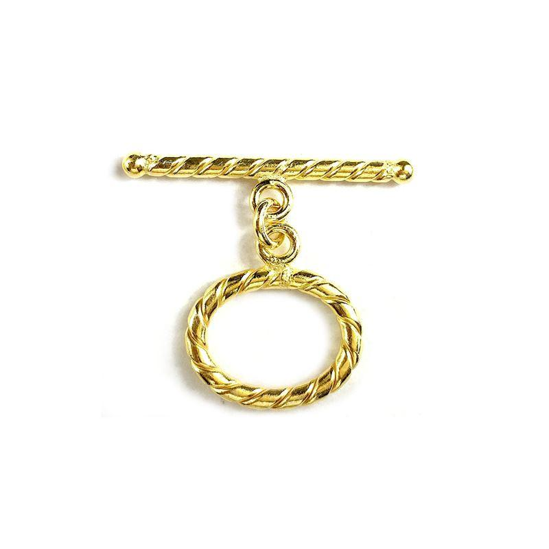 18K Gold Overlay Simple /& Elegant Twisted Wire Oval Shape Toggle TG-177