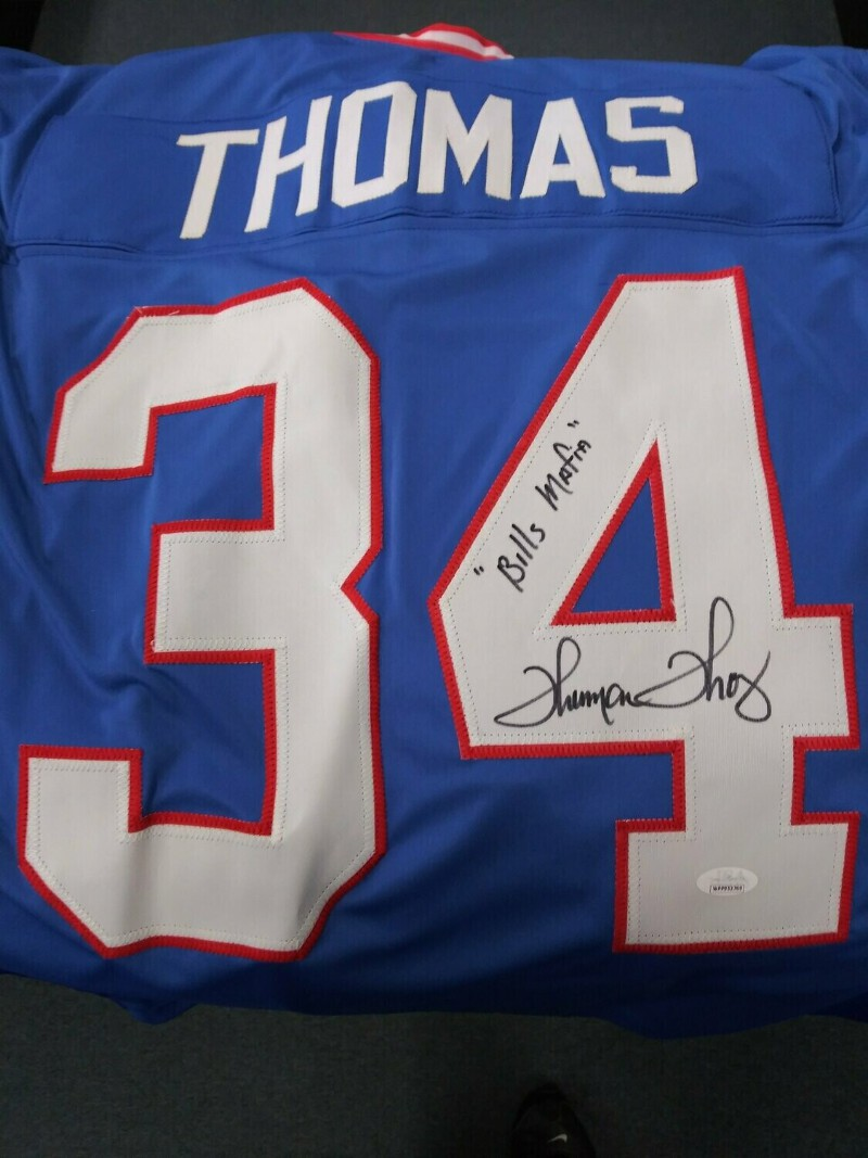 THURMAN THOMAS SIGNED BUFFALO BILLS CUSTOM JERSEY INSC BILLS MAFIA ...