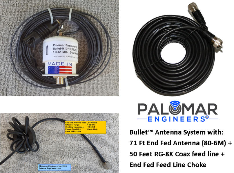 Details about Palomar Engineers Bullet End Fed Antenna System - 71' Antenna  (160-6 meters), 50