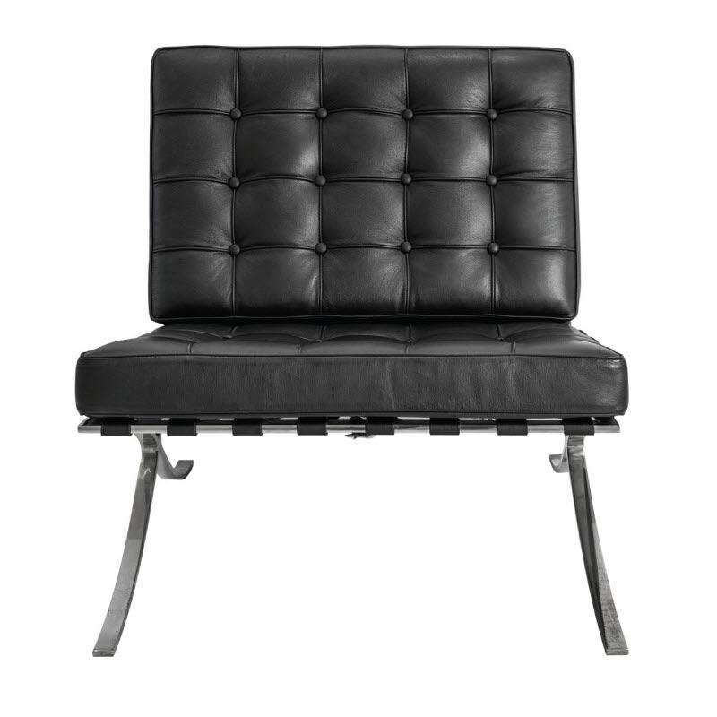 NEW Mies Van Der Rohe Replica Barcelona Chair Premium Leather   Black Retro