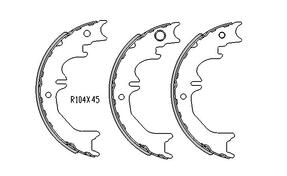 Toyota LANDCRUISER HAND BRAKE SHOES  70 Series FZJ70 , FZJ73 , FZJ75 Models  1/1990 to 1999 R1744