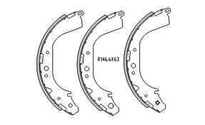 Toyota LANDCRUISER BRAKE SHOES rear BJ70 , BJ73 Models 11/1984 to 1990 R1414