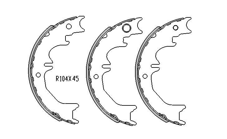 Toyota LANDCRUISER HAND BRAKE SHOES  70 Series  VDJ , LC Models 4/2006 to 2008 R1744