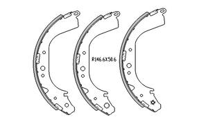 Toyota HIACE BRAKE SHOES rear YH /LH Models 8/1986 to 8/1987 295MM DRUM R1660