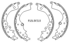 Toyota HIACE BRAKE SHOES rear KDH , TRH Models 4/2005 to 2009 254MM DRUM R1996