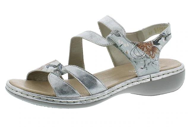 Rieker 65969-82 Ladies Silver Floral Hook and Loop Sandals