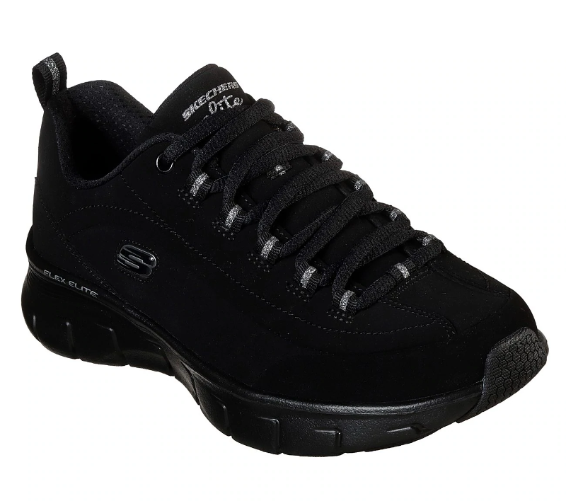 Intolerable ¿Cómo Competencia  Skechers 13261 Out And About Ladies Black Nubuck Leather Lace Up Shoes |  eBay