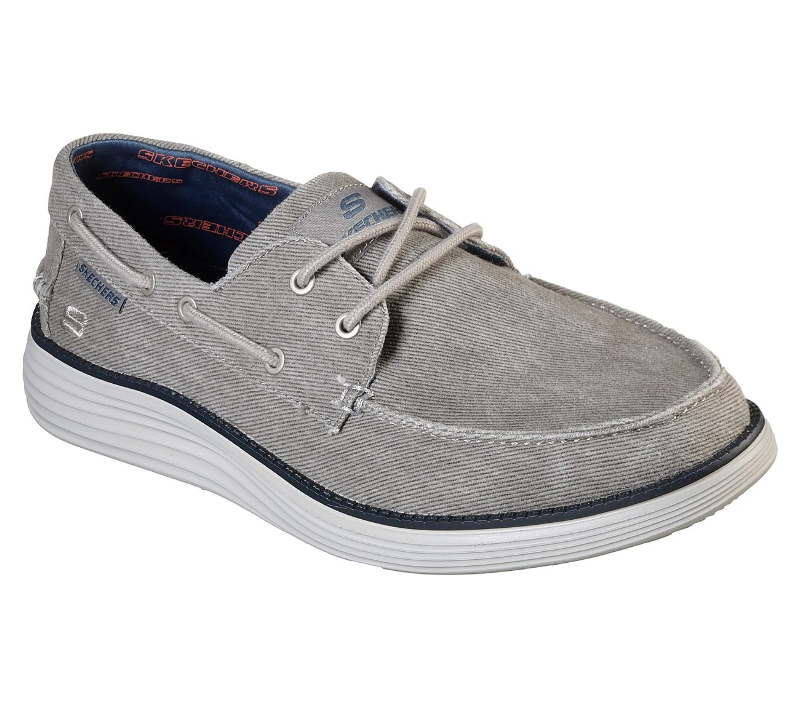 trapo ratón A nueve  Skechers 65908 Lorano Light Gray Air Cooled Memory Foam Casual Lace Up Shoe  | eBay