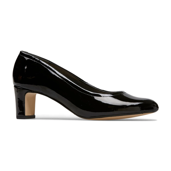 Van Dal Lorne X Black Patent Leather Wider Fitting Court Shoes EE ...