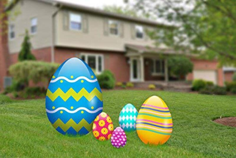 Aahs Engravings Easter Egg Yard Signs Outdoor Decorations 5 Pieces