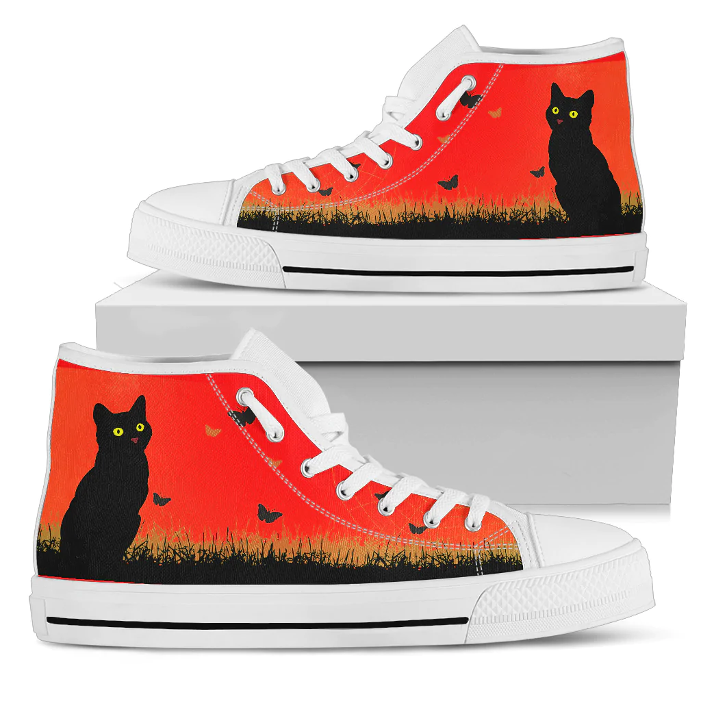 Cat Red Women's High Top Shoes | eBay