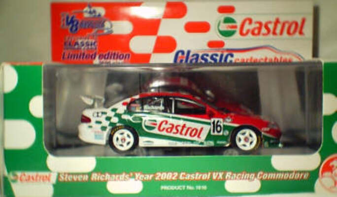1:43 Classic Carlectables 1016 Steven Richards 2002 Castrol VX Commodore