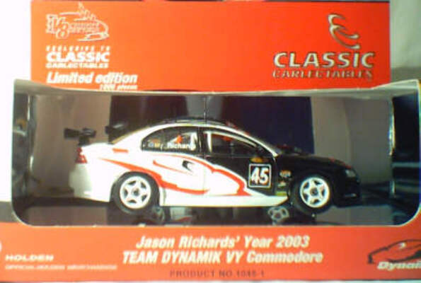 1:43 Classic Carlectables 1045-1 Jason Richards 2003 Team Dynamik VY Commodore