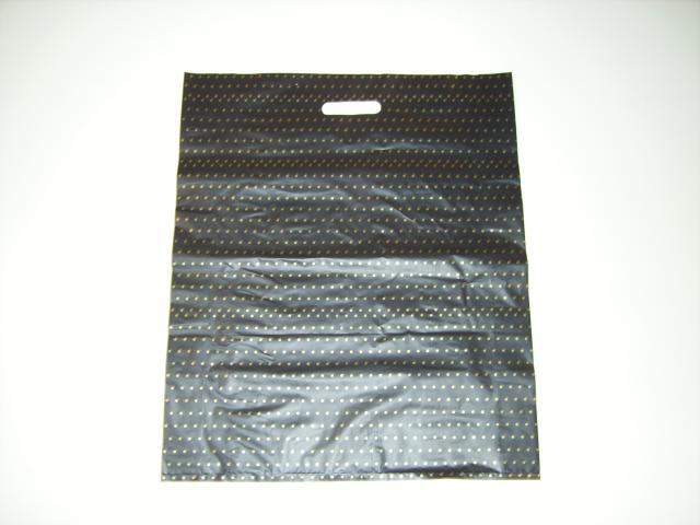 LARGE PLASTIC BAG BLACK WITH GOLD DOTS