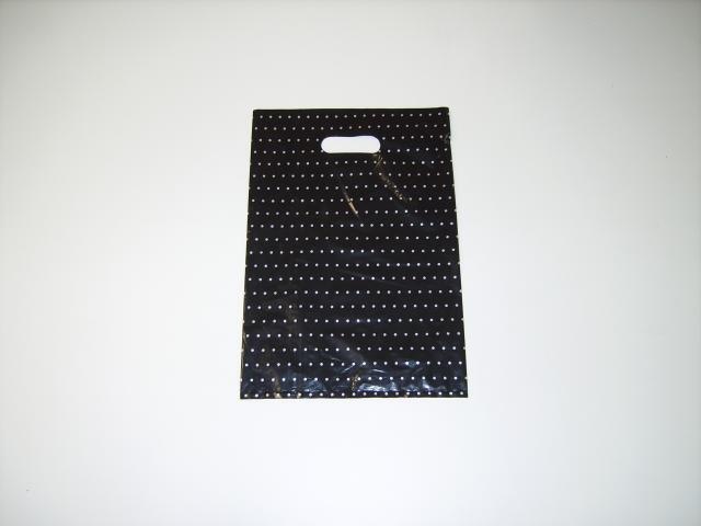 BOUTIQUE PLASTIC BAG BLACK WITH SILVER DOTS