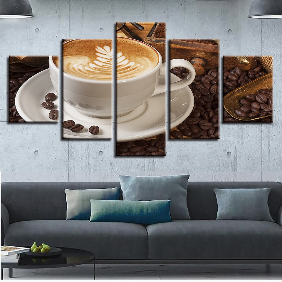 Love Coffee Cup Poster 5p Canvas Print Wall Art Coffee Painting Restaurant Decor