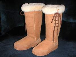 Premium Lace Up Ugg Boot(Chestnut)