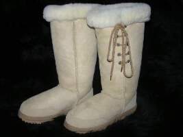 Premium Lace Up Ugg Boot (Sand)
