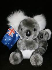 Koala and Baby with Flag