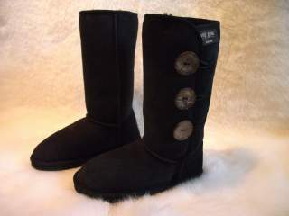 Classic Long Button Ugg Boot (Black)