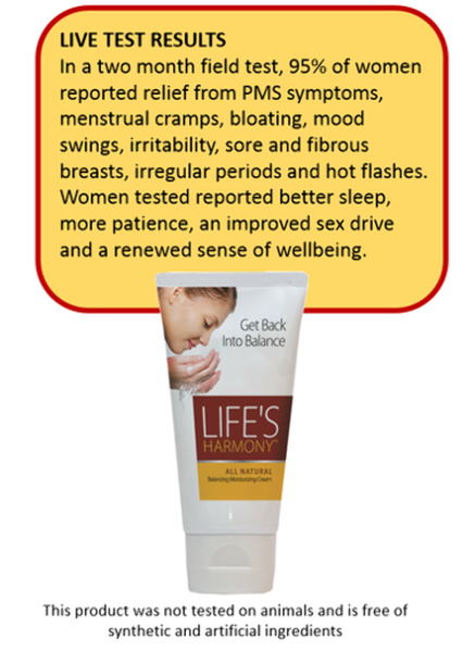 "Life's Harmony -  A "" Natural Transdermal "" cream intended to help promote healthy progesterone levels. RRP $77.00-"