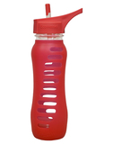 "Eco Water Bottle ""Recycled Glass"" with Flip Straw Lid - 650ml - Raspberry"