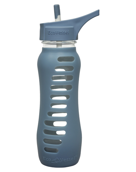 "Eco Water Bottle ""Recycled Glass"" with Flip Straw Lid - 650ml - Blue"