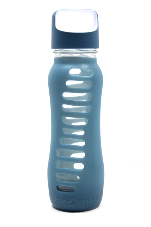 "Eco Water Bottle ""Recycled Glass"" with Loop Lid - 650ml - Blue"
