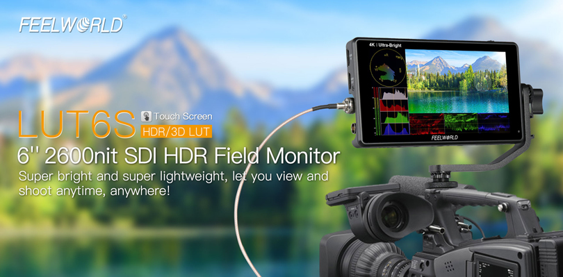 FeelWorld LUT6S 6inch 4K HDMI/3G-SDI Touchscreen Monitor  - Image1
