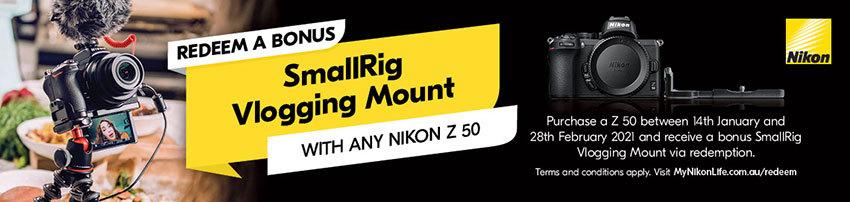 Redeem a bonus SmallRig Vlogging Mount with any Nikon Z50