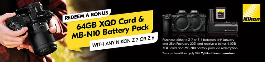 Redeem a bonus Card and Battery Pack with any Nikon Z6 or Z7