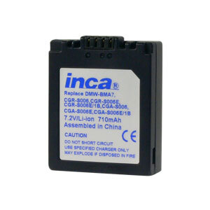 Inca Rechargeable Li-Ion Battery Panasonic BP-DC5, CGA-S006, CGR-S006, DMW-BMA7