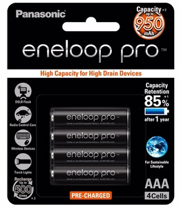 Panasonic Eneloop Pro 4 x AAA Batteries 950 mAh
