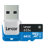Lexar Micro SD – 64GB – 633X with USB3.0 Adapter