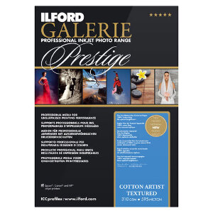 Ilford Galerie Cotton Artist Textured Professional Inkjet Paper A3+ 25 Sheets