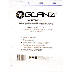 Glanz Archival Storage Pages for 6x6 Medium Format Negatives - 25 Pack