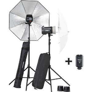 Elinchrom BRX 250/250 Umbrella Set To Go with Stands