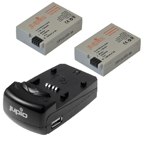 Jupio Twin Rechargeable Canon LP-E8 Battery + Charger Kit