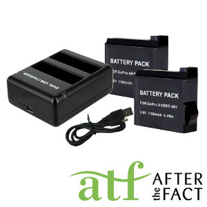 ATF 2x Spare Battery for HERO4 + Charger Combo