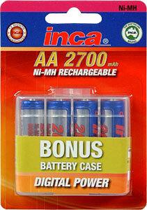 Inca AA 4 pack 2700mAh Inca NiMh Battery w/Case