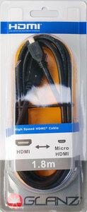 Glanz HDMI (A) to HDMI Micro (D) – 1.8 Metres