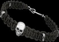 Beaded Silver Skull Bracelets