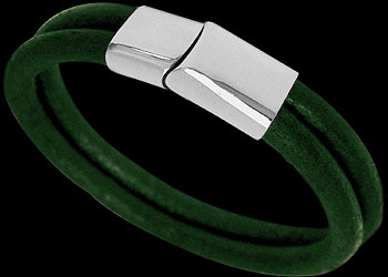 Green Leather and 316L Stainless Steel Bracelets BD14GR