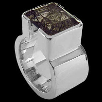 Men's Jewelry -: Rutilized Quartz and .925 Sterling Silver Ring R358