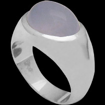 Men's Jewelry - Blue Chalcedony and .925 Sterling Silver Ring R752 - Polish Finish