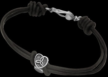 .925 Sterling Silver Celtic Beads and Black Leather Bracelets - Celtic Beads ANIXI102